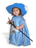 Bebê agradável no traje azul do mosqueteiro Imagem de Stock Royalty Free