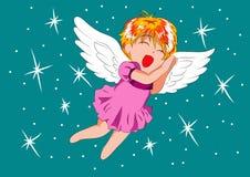 Bebê alegre do anjo da ilustração no estilo dos desenhos animados Foto de Stock Royalty Free