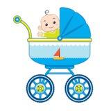 Bebê alegre em seu transporte de bebê ilustração do vetor