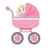 Bebê alegre em seu transporte de bebê ilustração stock