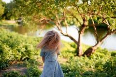 Bebê 4 anos, com olhos azuis, ondas pequenas Uma estadia maravilhosa da infância e da aventura Luz solar morna Cabelo que vibra d foto de stock