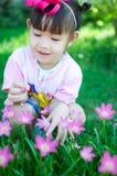 Bebê asiático com flor Foto de Stock