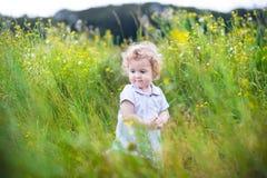 Bebê bonito com o cabelo encaracolado que joga no campo imagens de stock royalty free