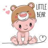 Bebê bonito dos desenhos animados em um chapéu do urso Fotos de Stock