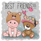 Bebê bonito e Teddy Bear dos desenhos animados ilustração royalty free