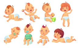 Bebê bonito Jogo de caracteres isolado criança feliz dos bebês dos desenhos animados, do sorriso e do riso do vetor ilustração do vetor