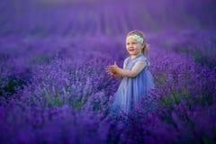 Bebê bonito no campo de florescência da alfazema imagem de stock