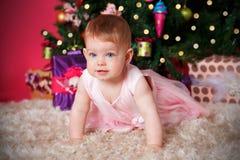 Bebê bonito no Natal fotografia de stock