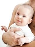 Bebê bonito no regaço do pai Imagem de Stock