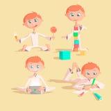 Bebê bonito pequeno que joga com brinquedos A criança constrói a casa dos cubos tira lápis joga uma almofada come o vetor colorid ilustração do vetor