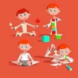 Bebê bonito pequeno que joga com brinquedos A criança constrói a casa dos cubos tira lápis joga uma almofada come os doces colori ilustração do vetor