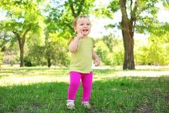 Bebê bonito que aprende andar no parque imagem de stock royalty free