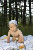 Bebê bonito que senta-se na grama Fotografia de Stock