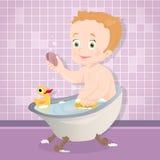 Bebê bonito que sorri ao falar um banho no banheiro ilustração do vetor