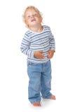Bebê branco do cabelo encaracolado e dos olhos azuis Fotos de Stock