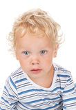 Bebê branco do cabelo encaracolado e dos olhos azuis fotos de stock royalty free