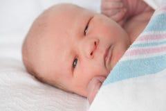 Bebê cansado na cobertura Fotografia de Stock