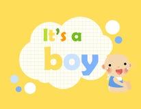 Bebê chuveiro-é um menino Imagens de Stock