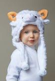 Bebê com ano novo 2015 do chapéu dos carneiros Imagem de Stock
