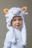 Bebê com ano novo 2015 do chapéu dos carneiros Fotografia de Stock
