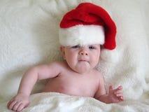 Bebê com chapéu de Santa fotos de stock