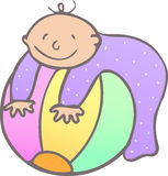 Bebê com esfera Fotografia de Stock Royalty Free