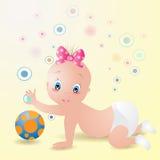 Bebê com esfera Imagens de Stock