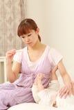 Bebê com febre Fotografia de Stock