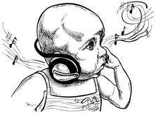 Bebê com fones de ouvido. Imagens de Stock Royalty Free
