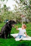 Bebê com Labrador preto Fotos de Stock Royalty Free