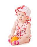 Bebê com laranja Fotografia de Stock Royalty Free