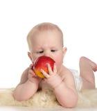 Bebê com maçã vermelha imagem de stock royalty free