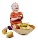 Bebê com maçãs Imagens de Stock Royalty Free