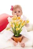 Bebê com narcisos amarelos em um potenciômetro Foto de Stock