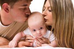 Bebê com pais Foto de Stock Royalty Free