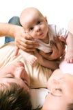 Bebê com pais Fotos de Stock Royalty Free