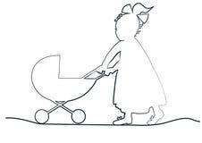 Bebê com pram Fotos de Stock Royalty Free
