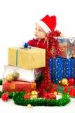 Bebê com presentes do Natal Imagens de Stock Royalty Free