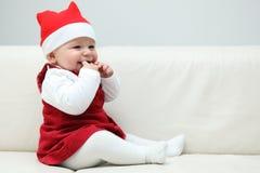 Bebê com tampão de Santa Foto de Stock