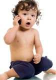 Bebê com telefone. Imagem de Stock Royalty Free