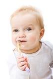 Bebê com toothbrush fotografia de stock