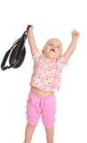 Bebê com um saco no fundo branco Fotografia de Stock Royalty Free
