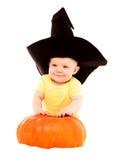 Bebê com uma abóbora Imagens de Stock Royalty Free