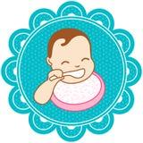 Bebê com uma colher Fotos de Stock Royalty Free