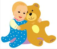 Bebê com urso Fotos de Stock Royalty Free