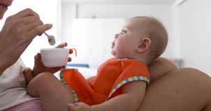 Bebê de alimentação da mãe da colheita video estoque