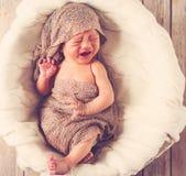 Bebê de grito em uma cesta Imagens de Stock