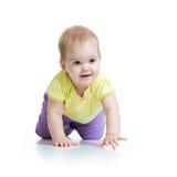 Bebê de rastejamento bonito no branco Fotos de Stock