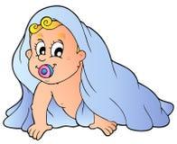 Bebê de rastejamento na toalha Fotos de Stock Royalty Free