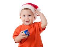 Bebê de sorriso com decoração do Natal imagem de stock royalty free